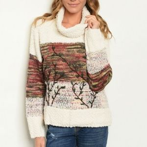 Sweaters - Autumn Leaves Multi Ivory Chunky Sweater